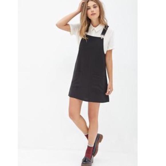 Forever 21 Dresses Black Denim Overall Pinafore Dress Poshmark